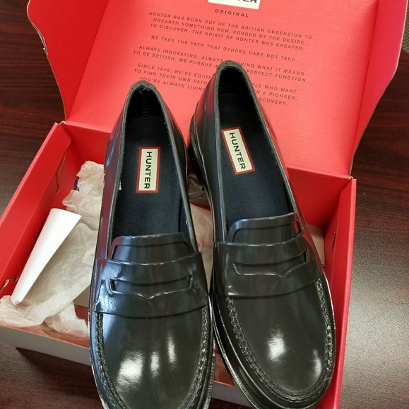 77f047c23b8 Hunter dark slate penny loafers